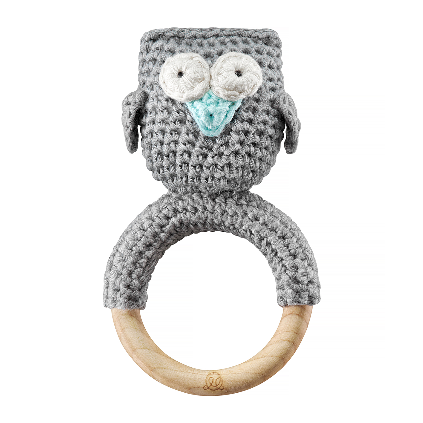 Rattle teether Owl Grey mint