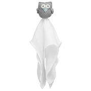 Snuggle toy Owl -  grey-mint