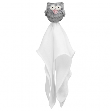Snuggle owl security blanket Grey dusty pink