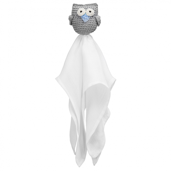 Snuggle owl security blanket Grey blue