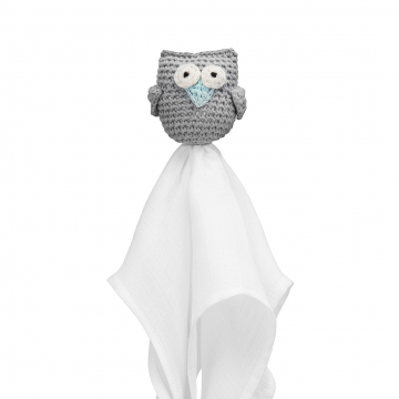 Snuggle owl security blanket XL Grey - mint
