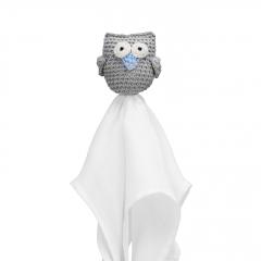 Snuggle owl security blanket XL Grey - blue