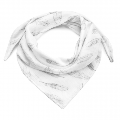 Anti-mosquito triangle bamboo scarf - Silver feathers