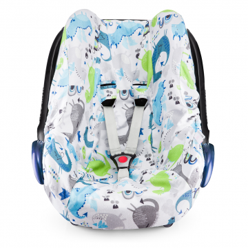 Bamboo car seat cover Dragons blue