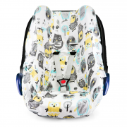 Bamboo car seat cover - Grey owls