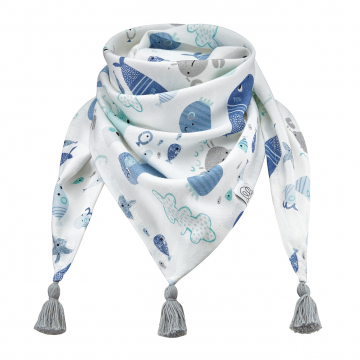 Triangle bamboo scarf Sea friends Grey