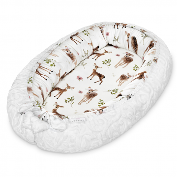 Premium Baby nest Luxe Fawns - White