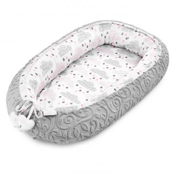 Premium Baby nest Luxe Blush Rain Grey