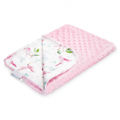 Light bamboo blanket - Paradise birds - dusty pink