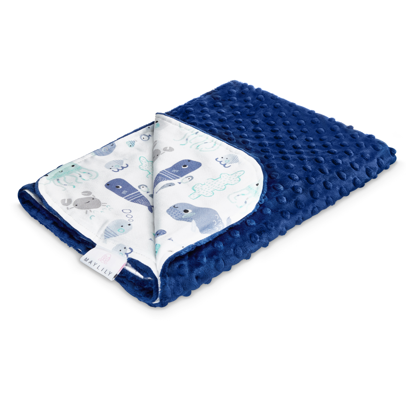 Light bamboo blanket Sea friends navy