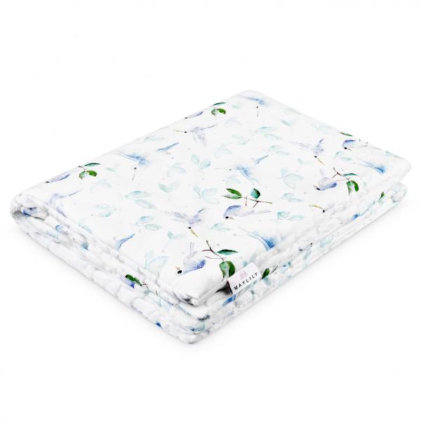 Warm bamboo blanket Luxe Heavenly birds White