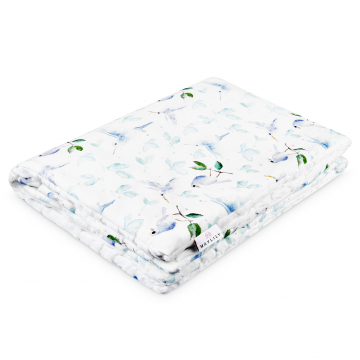 Warm bamboo blanket Luxe XL Heavenly birds White