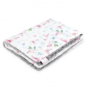 Warm bamboo blanket Luxe XL Paraise birds Grey