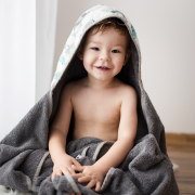 Bamboo hooded towel Hedgehogs boys Grey