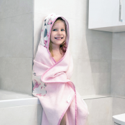 Bamboo hooded towel Hedgehogs girls Cream