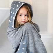 Bamboo hooded towel Hedgehogs girls Grey