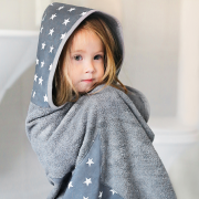 Bamboo hooded towel Star wolves Grey