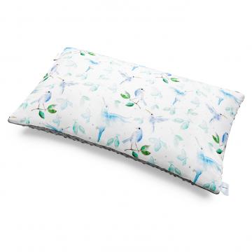 Bamboo fluffy pillow Heavenly birds Silver