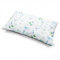 Fluffy bamboo pillow - Heavenly birds - silver