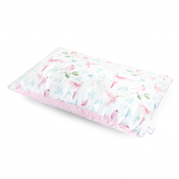 Luxe fluffy pillow Paradise birds Pink