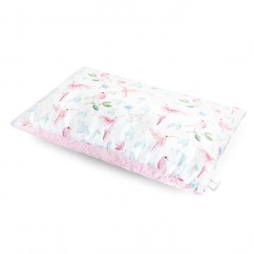 Luxe fluffy pillow Paradise birds Pink