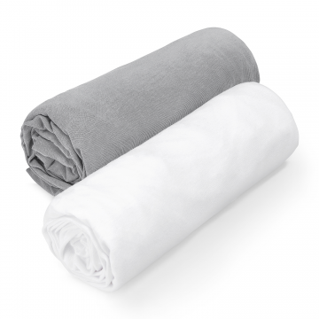 Cotton jersey sheet 70x140 - grey-white
