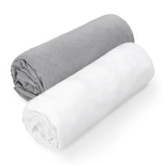 Cotton jersey sheet 70x140 - grey-white