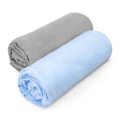 Cotton jersey sheet 70x140 2-pack - grey-light blue