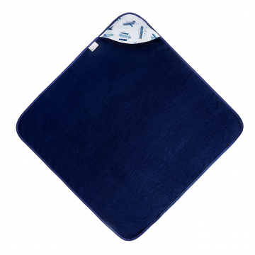 Bamboo baby towel Planes Navy