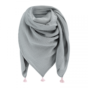 Muslin scarf Grey-Dusty pink