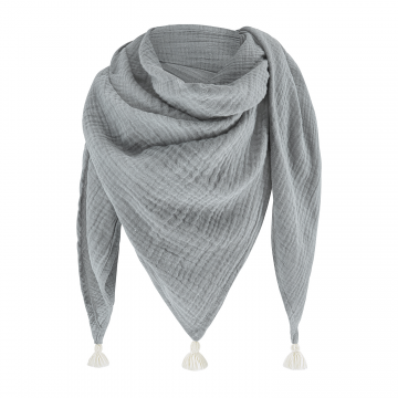 Muslin triangle scarf Grey-Cream