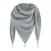 Muslin triangle scarf - grey-cream