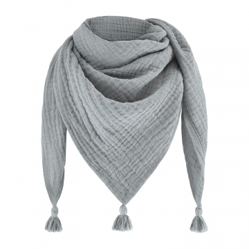 Muslin triangle scarf Grey-Grey