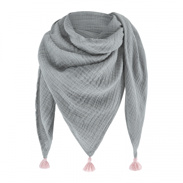 Muslin triangle scarf Grey-Pink