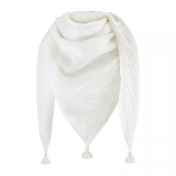 Muslin triangle scarf Cream-Cream