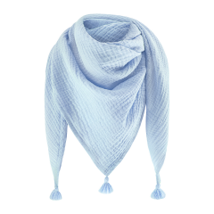 Muslin triangle scarf - light blue