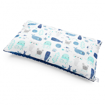 Bamboo fluffy pillow Sea friends Light blue