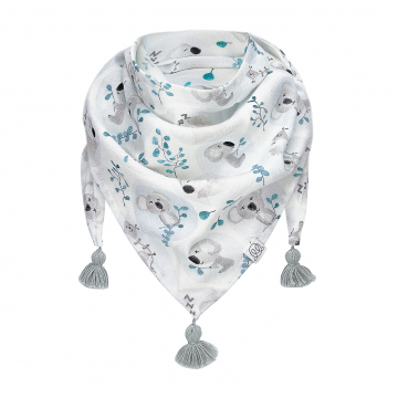 Triangle bamboo scarf Heavenly birds Grey