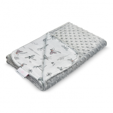 Light bamboo blanket Dragonflies Silver