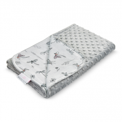 Light bamboo blanket - Dragonflies - silver