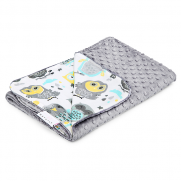Light bamboo blanket Grey owls Silver