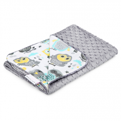 Light bamboo blanket Grey owls - Silver