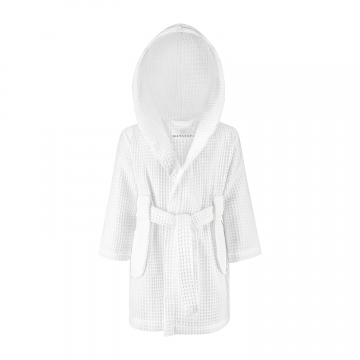 Bathrobe with crochet ornaments