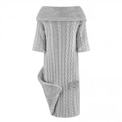 Kocyk bambusowy z rękawkami Winter - srebrny