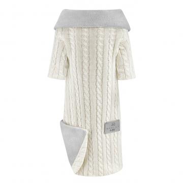 Sleeved bamboo blanket winter Cream