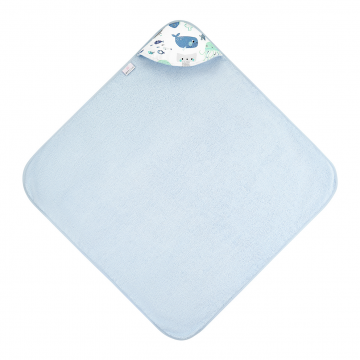 Bamboo baby towel Sea friends Light blue