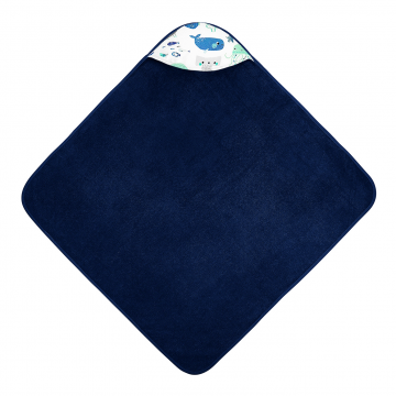 Bamboo baby towel Sea friends Navy