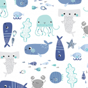 Warm bamboo sleeping bag - Sea friends