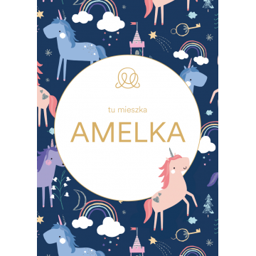 Personalized name poster - Unicorns