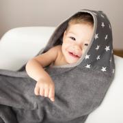 Ręcznik bambusowy z kapturem Aleja gwiazd - Szary